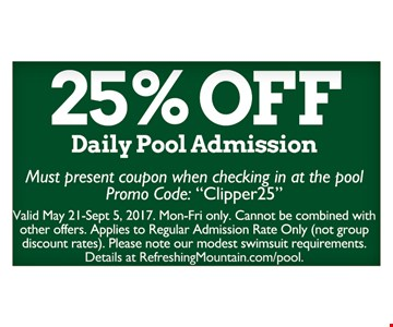 25% Off Daily Pool Admission