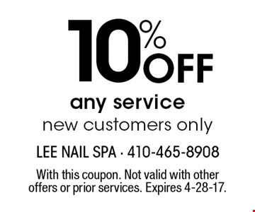 10% off any service. New customers only. With this coupon. Not valid with other offers or prior services. Expires 4-28-17.