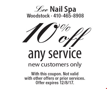10% off any service. New customers only. With this coupon. Not valid with other offers or prior services. Offer expires 12/8/17.
