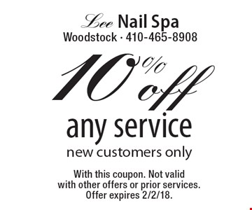 10%off any service new customers only. With this coupon. Not valid with other offers or prior services. Offer expires 2/2/18.