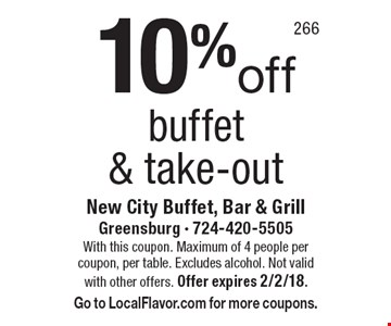 10% off buffet & take-out. With this coupon. Maximum of 4 people per coupon, per table. Excludes alcohol. Not valid with other offers. Offer expires 2/2/18. Go to LocalFlavor.com for more coupons.