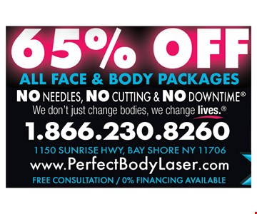 65% Off All Face & Body Packages