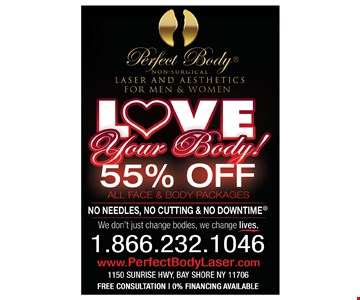 55% off all face and body packages