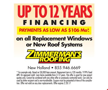 Up to 12 years financing