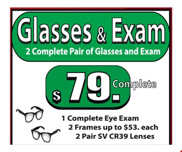 Glasses & exam $79
