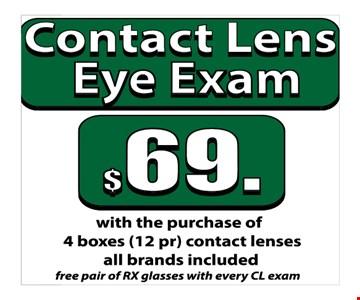Contact lens eye exam $69
