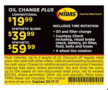 Oil Change Plus - $19.99 Conventional Oil Change, $39.99 Synthetic Blend Oil Change, $59.99 Synthetic Oil Change