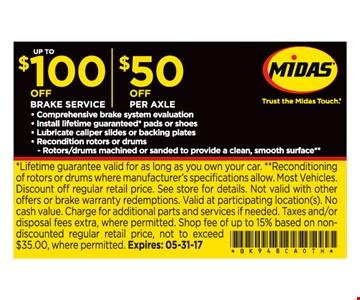 Up To $100 Off Brake Service and $50 Off per Axle