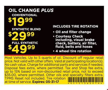 Oil Changes $19.99 to $49.99