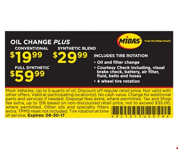 $19.99 to $59.99 Oil Change Plus