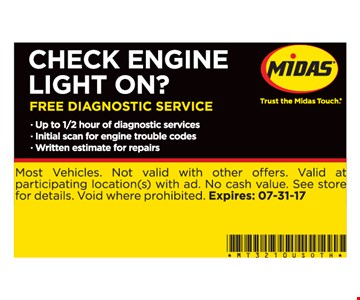 Free diagnostic, Check engine light on?