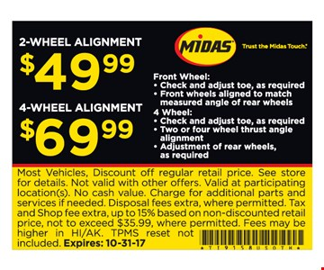 2 or 4 wheel alignment as low as $49.99