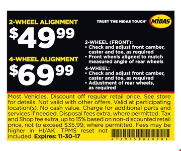2 or 4 wheel alignment as low as $49.99!