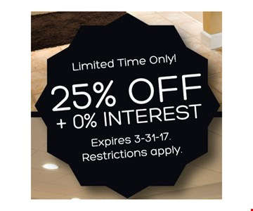 25% Off + 0% Interest