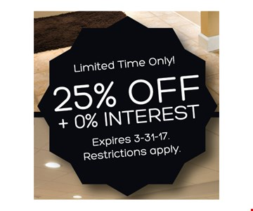 25% Off + 0% Interest