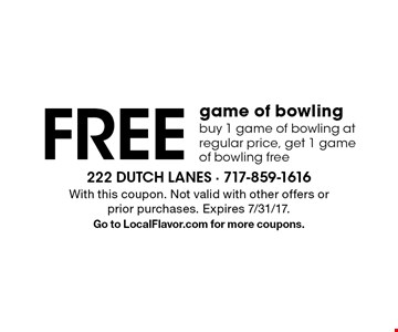 Free game of bowling. Buy 1 game of bowling at regular price, get 1 game of bowling free. With this coupon. Not valid with other offers or prior purchases. Expires 7/31/17. Go to LocalFlavor.com for more coupons.