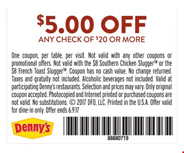 $5.00 Off any check of $50 or more