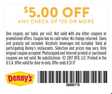 $5.00 Off Any Check of $20 or more