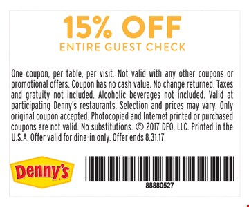 15% Off Entire Guest Check