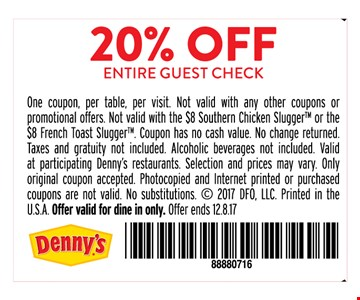 20% Off entire guest check