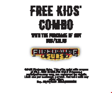 free kids' combo with the purchase of any sub/salad. Exp. 3-31-17.