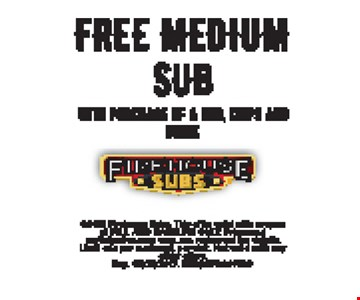 free medium sub with purchase of a sub, chips and drink. Exp. 3-31-17.