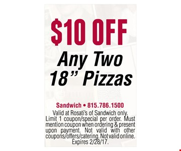 $10 off any two 18