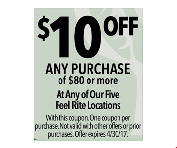 $10 off any purchase of $80 or more