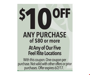 $10 off any purchase o $80 or more