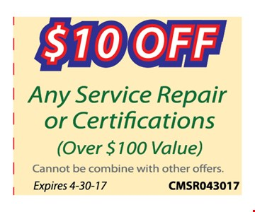 $10 off any service repair or certifications