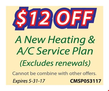 $12 Off A New Heating and A/C Service Plan
