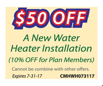 $50 Off a New Water Heater Installation
