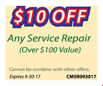 $10 off any service repair (over $100 Value)