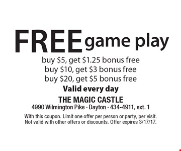 Free game play. Buy $5, get $1.25 bonus free. Buy $10, get $3 bonus free. Buy $20, get $5 bonus free. Valid every day. With this coupon. Limit one offer per person or party, per visit. Not valid with other offers or discounts. Offer expires 3/17/17.