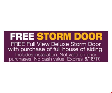 Free Full View Deluxe Storm Door With Purchase Of Full House Of Siding