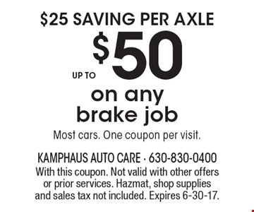 $25 saving per axle up to $50 on any brake job Most cars. One coupon per visit. . With this coupon. Not valid with other offers or prior services. Hazmat, shop supplies and sales tax not included. Expires 6-30-17.