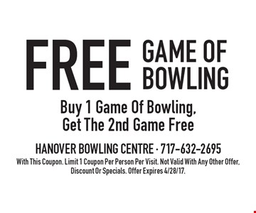 Free Game Of Bowling. Buy 1 Game Of Bowling, Get The 2nd Game Free. With This Coupon. Limit 1 Coupon Per Person Per Visit. Not Valid With Any Other Offer, Discount Or Specials. Offer Expires 4/28/17.