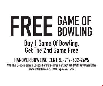 Free Game Of Bowling. Buy 1 Game Of Bowling, Get The 2nd Game Free. With This Coupon. Limit 1 Coupon Per Person Per Visit. Not Valid With Any Other Offer, Discount Or Specials. Offer Expires 6/16/17.