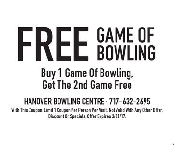 Free Game Of Bowling. Buy 1 Game Of Bowling, Get The 2nd Game Free. With This Coupon. Limit 1 Coupon Per Person Per Visit. Not Valid With Any Other Offer, Discount Or Specials. Offer Expires 3/31/17.
