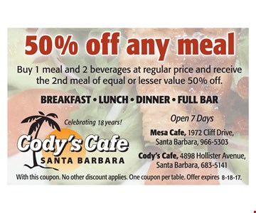 50% off any meal