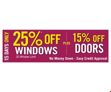 25% Off Windows or 15% Off Doors