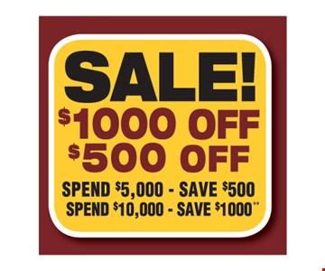 Sale $1000 off $500 off