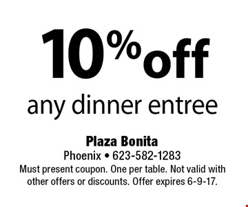 10% off any dinner entree. Must present coupon. One per table. Not valid with other offers or discounts. Offer expires 6-9-17.