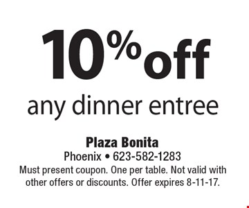 10% off any dinner entree. Must present coupon. One per table. Not valid with other offers or discounts. Offer expires 8-11-17.