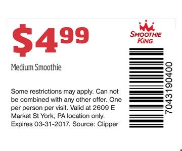 $4.99 Medium Smoothie
