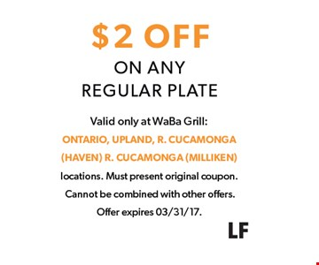 $2 Off any regular plate