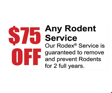$75 any rodent service. Our Rodex service is guaranteed to remove and prevent rodents for 2 full years.