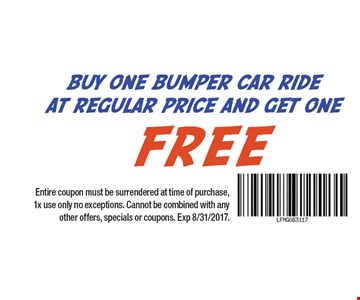 Buy One Bumper Car Ride At Regular Price And Get One Free Entire coupon must be surrendered at time of purchase, 1x use only no exceptions. Cannot be combined with any other offers, specials or coupons. Exp 8/31/2017.