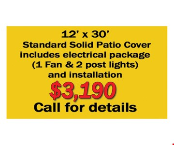 12' X 30' Standard Solid Patio Cover $3190