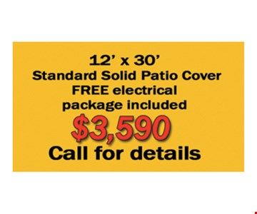 $3,590 12' x 30' Standard Solid Patio Cover